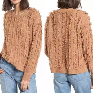 Madewell Camel Fringe Stripe Pullover Sweater S